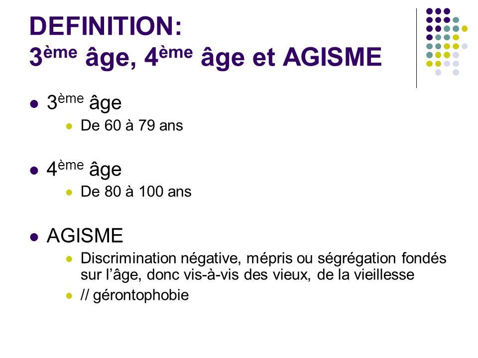 DEFINITION: 3 ème âge, 4 ème âge et AGISME 3 ème âge De 60 à 79 ans 4 ème âge De 80 à 100 ans AGISME Discrimination négative, mépris ou ségrégation fo