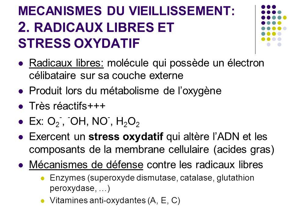 MECANISMES DU VIEILLISSEMENT: 2. RADICAUX LIBRES ET STRESS OXYDATIF Radicaux libres: molécule qui possède un électron célibataire sur sa couche extern