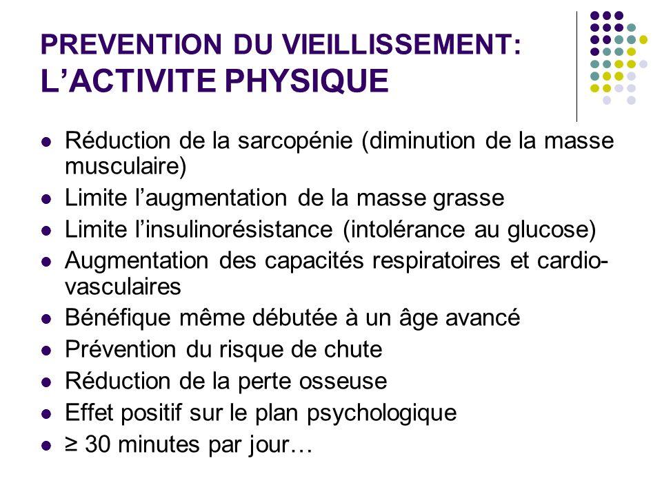 PREVENTION DU VIEILLISSEMENT: LACTIVITE PHYSIQUE Réduction de la sarcopénie (diminution de la masse musculaire) Limite laugmentation de la masse grass