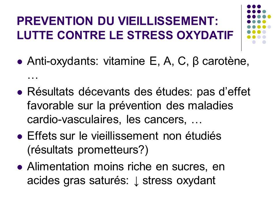 PREVENTION DU VIEILLISSEMENT: LUTTE CONTRE LE STRESS OXYDATIF Anti-oxydants: vitamine E, A, C, β carotène, … Résultats décevants des études: pas deffe