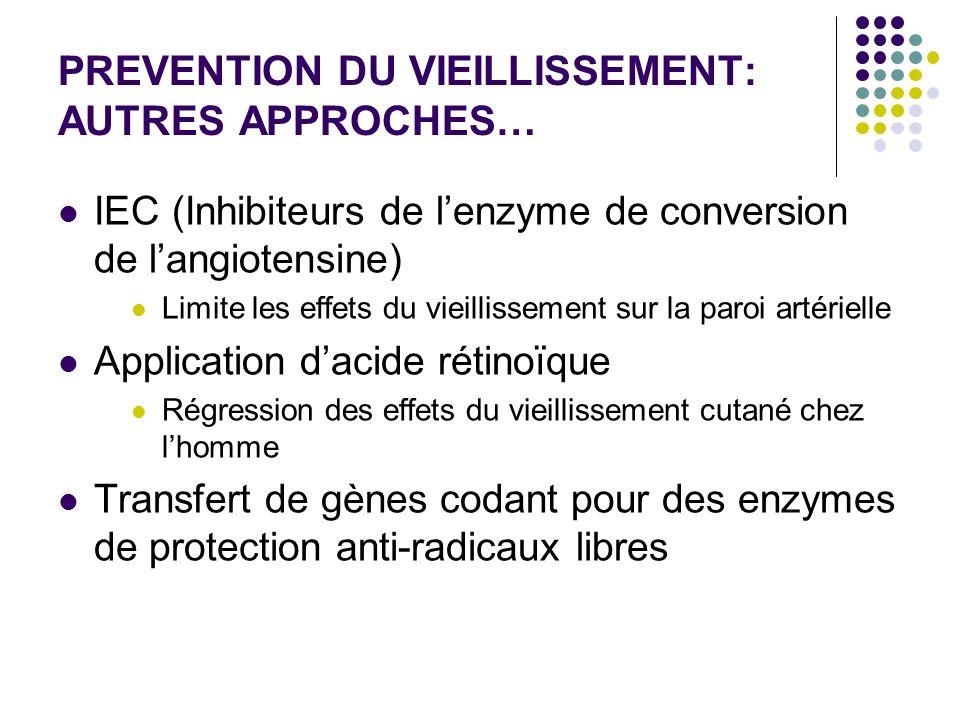 PREVENTION DU VIEILLISSEMENT: AUTRES APPROCHES… IEC (Inhibiteurs de lenzyme de conversion de langiotensine) Limite les effets du vieillissement sur la