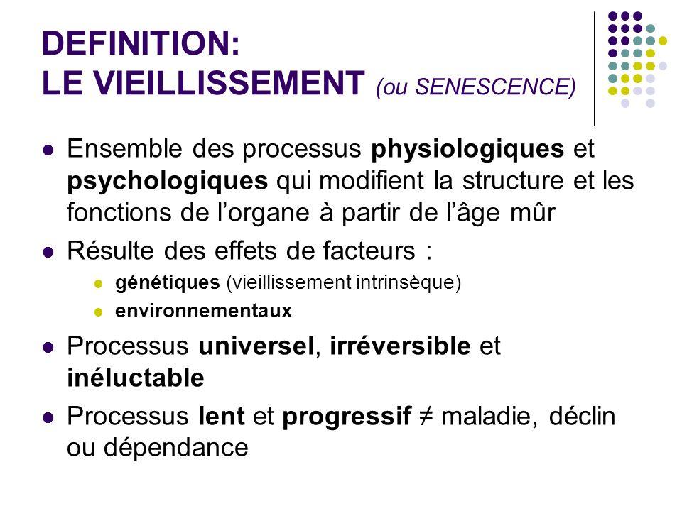 DEFINITION: LE VIEILLISSEMENT (ou SENESCENCE) Ensemble des processus physiologiques et psychologiques qui modifient la structure et les fonctions de l