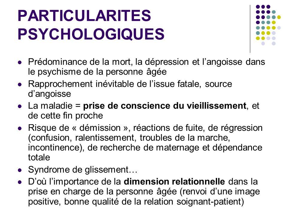 PARTICULARITES PSYCHOLOGIQUES Prédominance de la mort, la dépression et langoisse dans le psychisme de la personne âgée Rapprochement inévitable de li