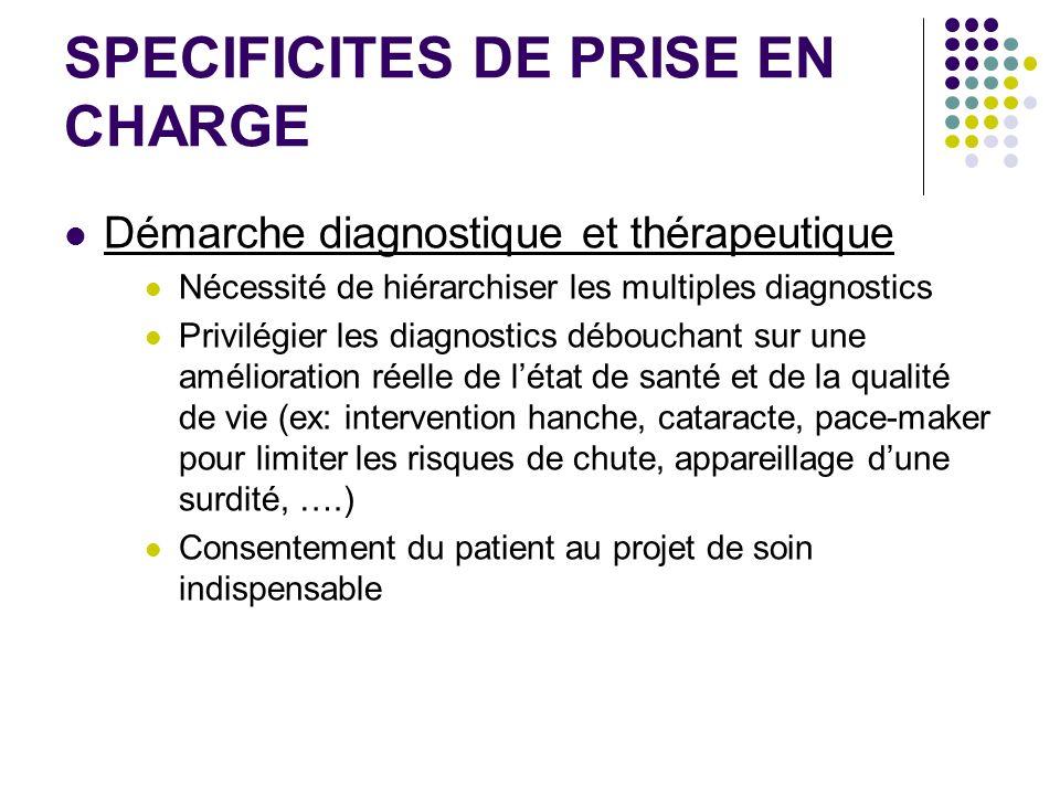 SPECIFICITES DE PRISE EN CHARGE Démarche diagnostique et thérapeutique Nécessité de hiérarchiser les multiples diagnostics Privilégier les diagnostics