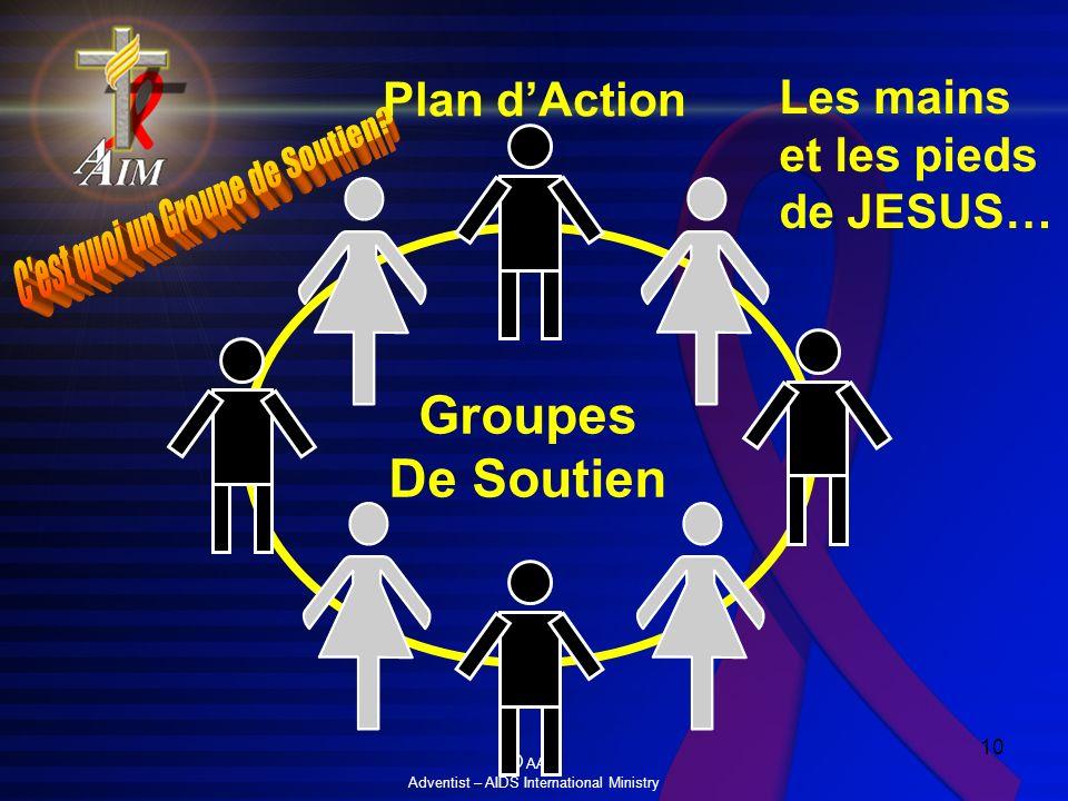 © AAIM Adventist – AIDS International Ministry 10 Groupes De Soutien Les mains et les pieds de JESUS… Plan dAction