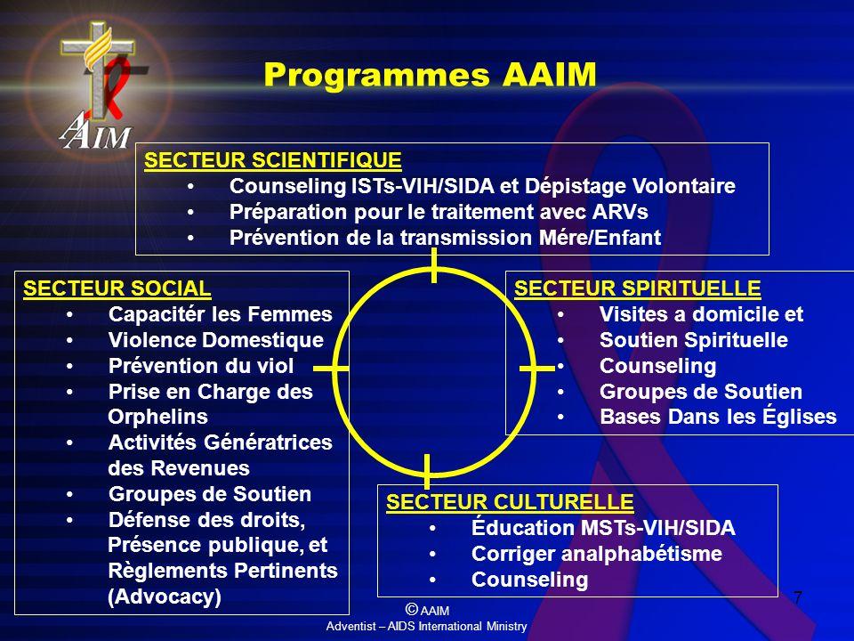 © AAIM Adventist – AIDS International Ministry 7 Programmes AAIM SECTEUR CULTURELLE Éducation MSTs-VIH/SIDA Corriger analphabétisme Counseling SECTEUR