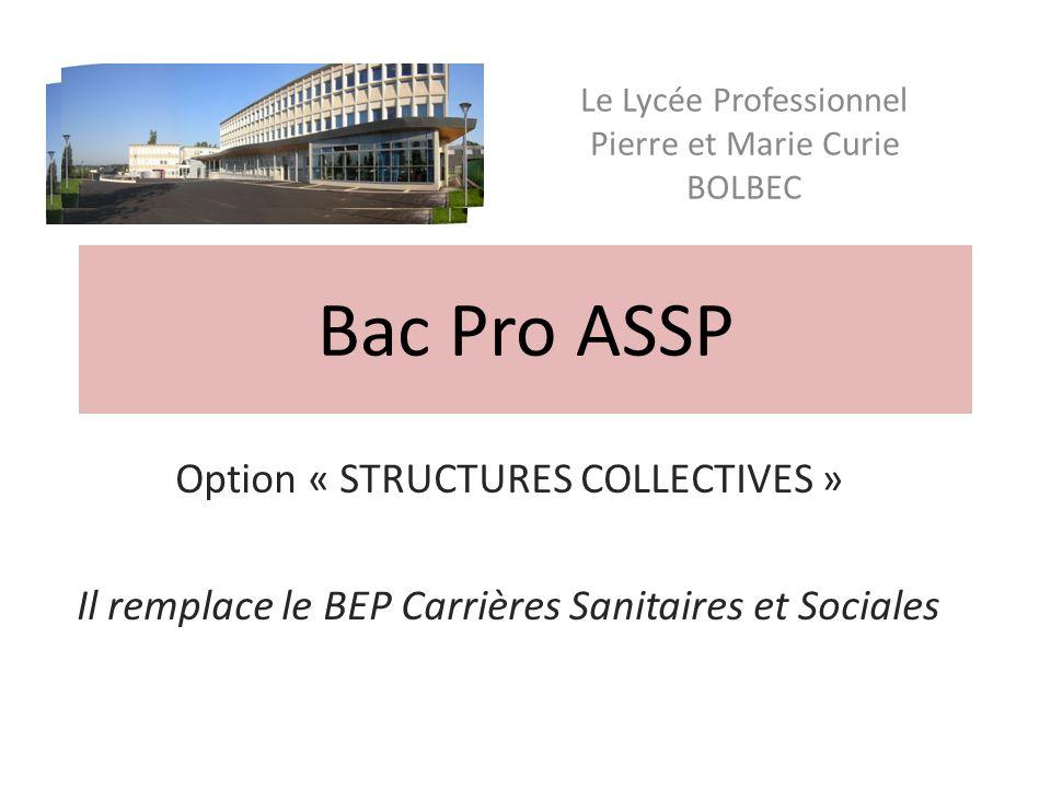 Bac Pro ASSP Option « STRUCTURES COLLECTIVES » Il remplace le BEP Carrières Sanitaires et Sociales Le Lycée Professionnel Pierre et Marie Curie BOLBEC