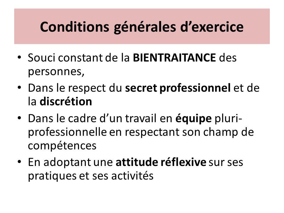 Conditions générales dexercice Souci constant de la BIENTRAITANCE des personnes, Dans le respect du secret professionnel et de la discrétion Dans le c