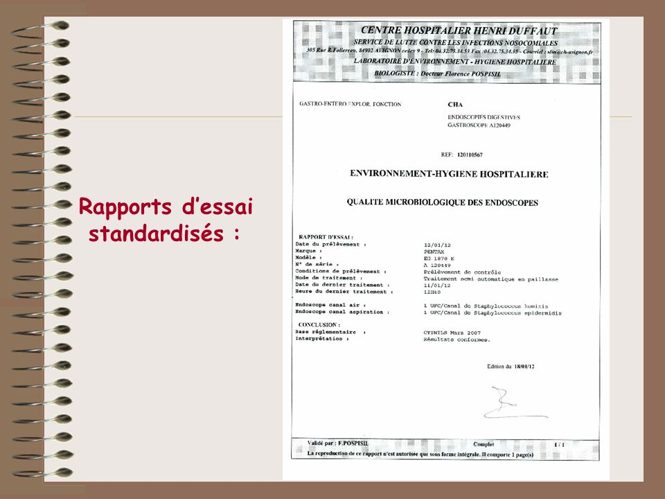 Rapports dessai standardisés :