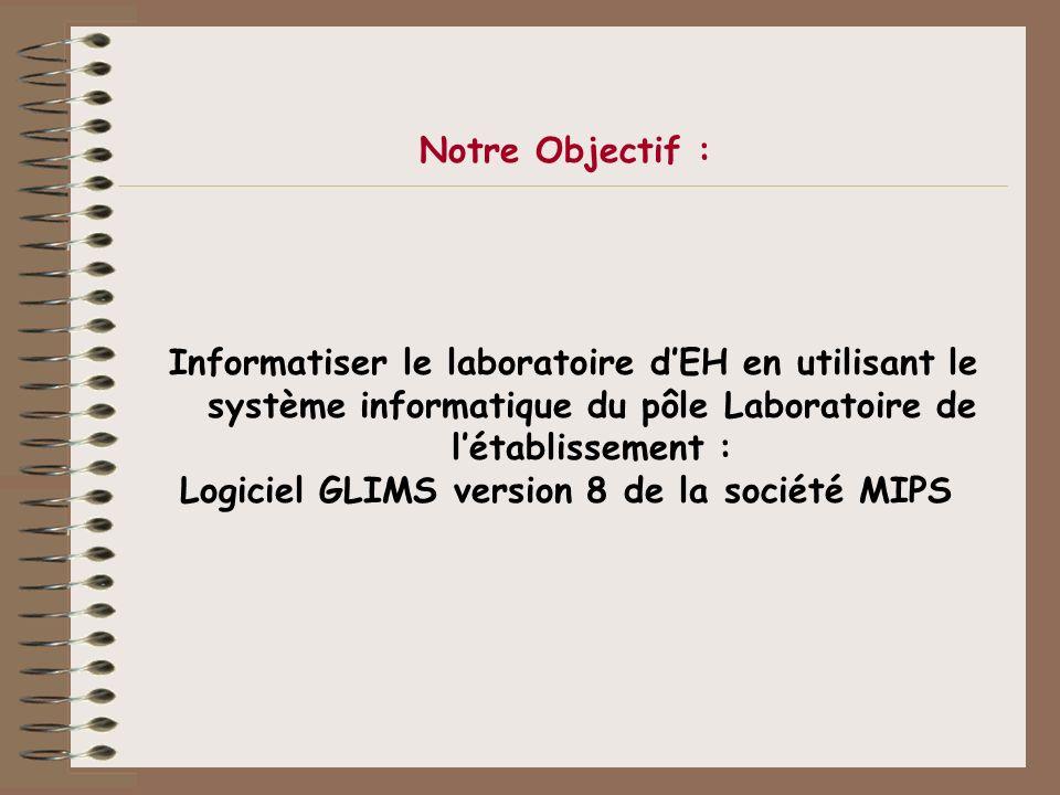 Notre Objectif : Informatiser le laboratoire dEH en utilisant le système informatique du pôle Laboratoire de létablissement : Logiciel GLIMS version 8