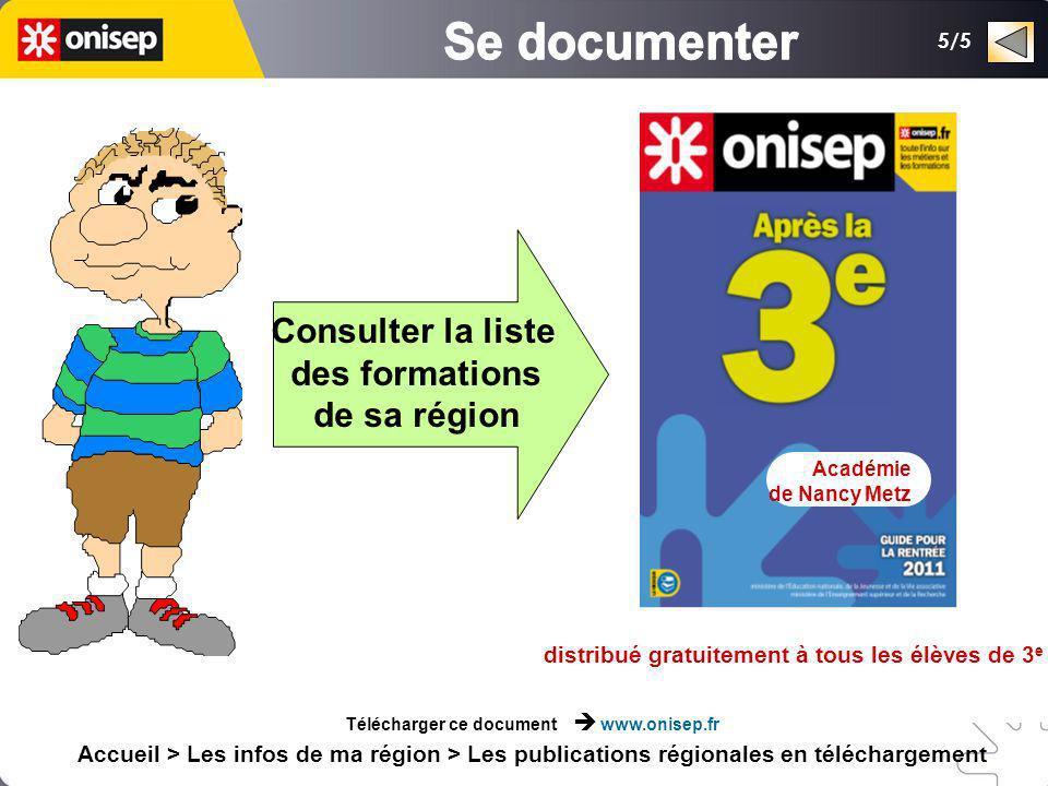 Consulter la liste des formations de sa région distribué gratuitement à tous les élèves de 3 e Académie de Nancy Metz Télécharger ce document www.onis
