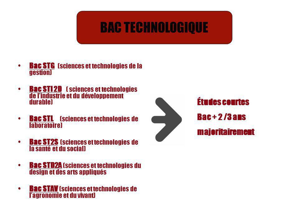 Bac STG (sciences et technologies de la gestion) Bac STI 2D ( sciences et technologies de lindustrie et du développement durable) Bac STL (sciences et