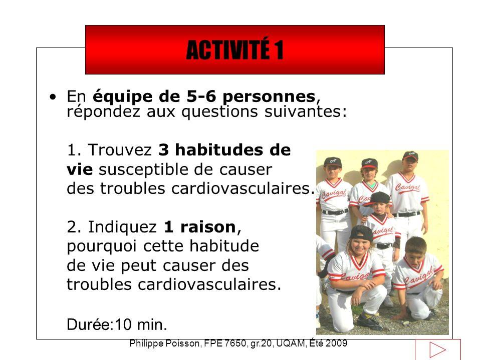Philippe Poisson, FPE 7650, gr.20, UQAM, Été 2009 Saviez-vous que… En équipe de 5-6 personnes, répondez aux questions suivantes: 1. Trouvez 3 habitude