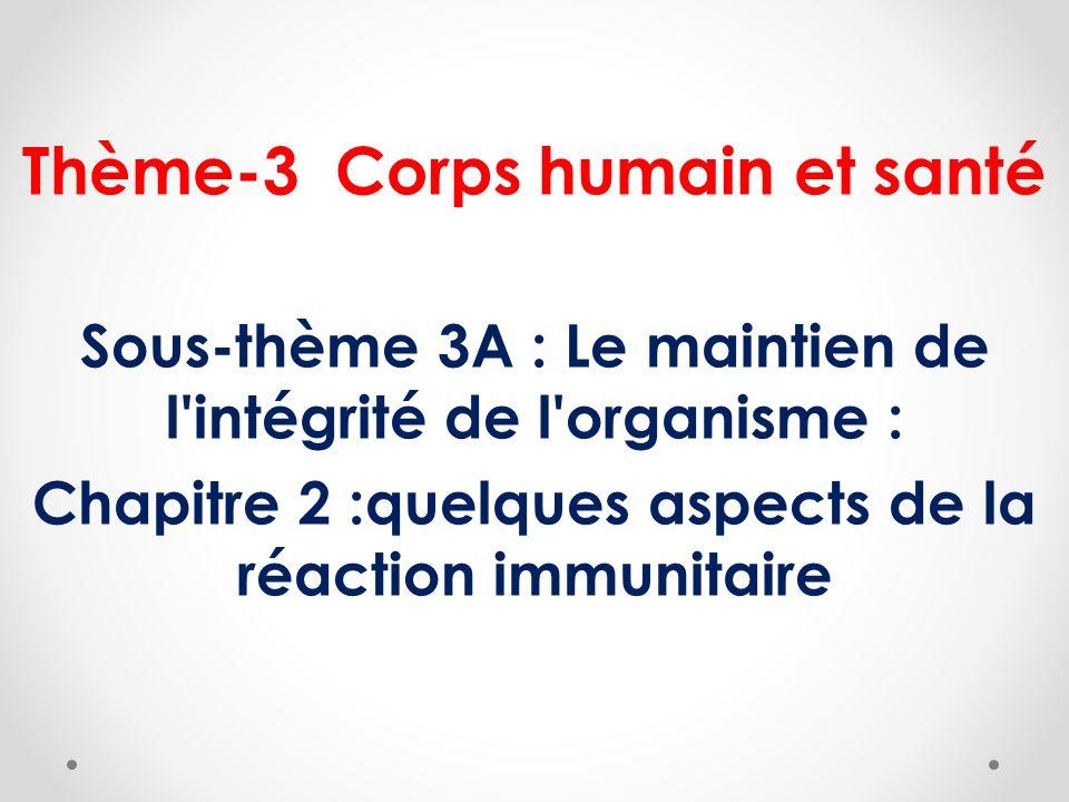 Thème-3 Corps humain et santé Sous-thème 3A : Le maintien de l'intégrité de l'organisme : Chapitre 2 :quelques aspects de la réaction immunitaire