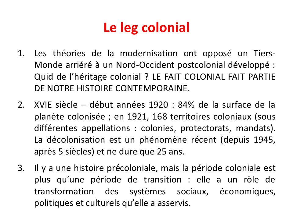 Le leg colonial 1.Les théories de la modernisation ont opposé un Tiers- Monde arriéré à un Nord-Occident postcolonial développé : Quid de lhéritage co