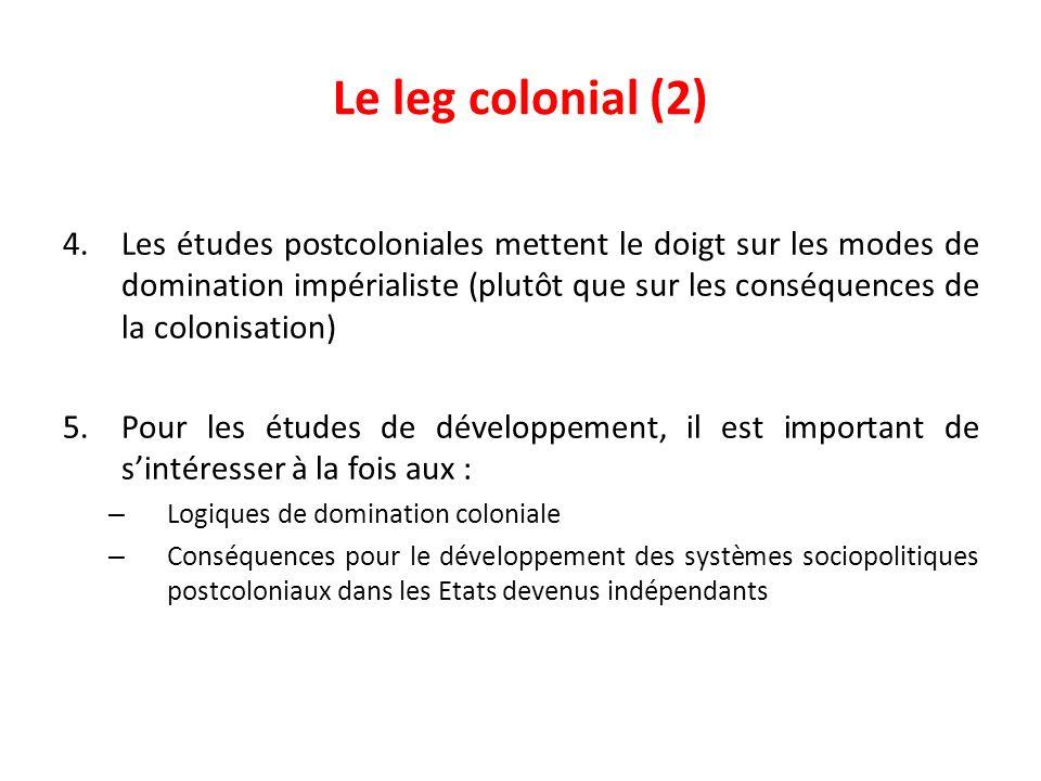 Le leg colonial (2) 4.Les études postcoloniales mettent le doigt sur les modes de domination impérialiste (plutôt que sur les conséquences de la colon