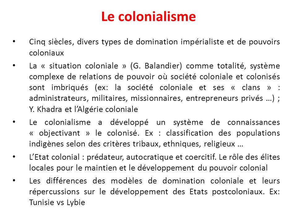 Le colonialisme Cinq siècles, divers types de domination impérialiste et de pouvoirs coloniaux La « situation coloniale » (G. Balandier) comme totalit