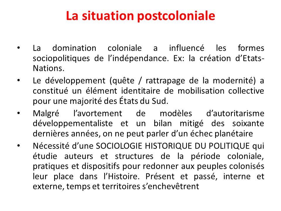 La situation postcoloniale La domination coloniale a influencé les formes sociopolitiques de lindépendance. Ex: la création dEtats- Nations. Le dévelo