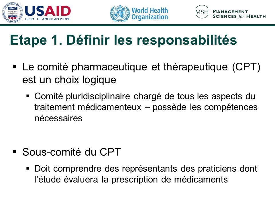 Etape 1. Définir les responsabilités Le comité pharmaceutique et thérapeutique (CPT) est un choix logique Comité pluridisciplinaire chargé de tous les