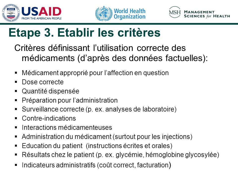 Etape 3. Etablir les critères Critères définissant lutilisation correcte des médicaments (daprès des données factuelles): Médicament approprié pour la