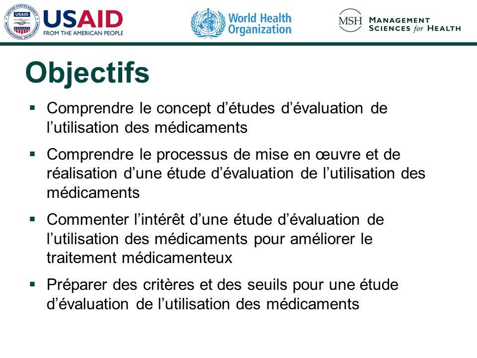 Objectifs Comprendre le concept détudes dévaluation de lutilisation des médicaments Comprendre le processus de mise en œuvre et de réalisation dune ét