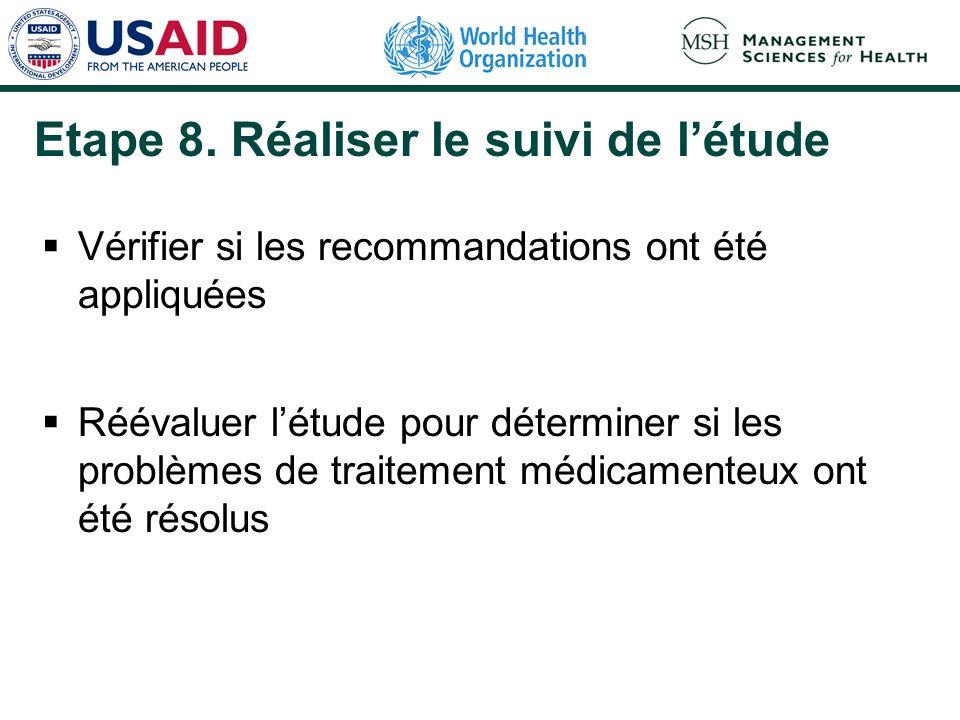 Etape 8. Réaliser le suivi de létude Vérifier si les recommandations ont été appliquées Réévaluer létude pour déterminer si les problèmes de traitemen