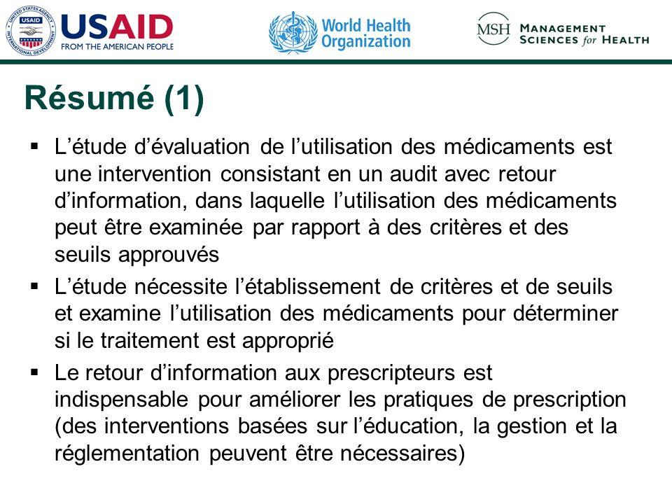 Résumé (1) Létude dévaluation de lutilisation des médicaments est une intervention consistant en un audit avec retour dinformation, dans laquelle luti