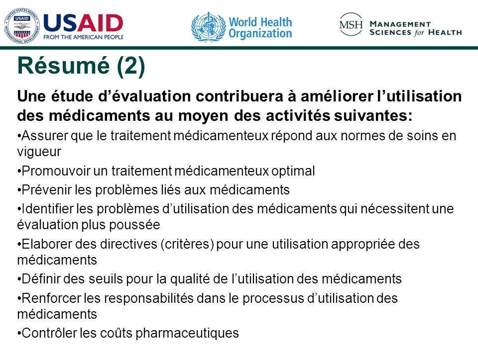 Résumé (2) Une étude dévaluation contribuera à améliorer lutilisation des médicaments au moyen des activités suivantes: Assurer que le traitement médi