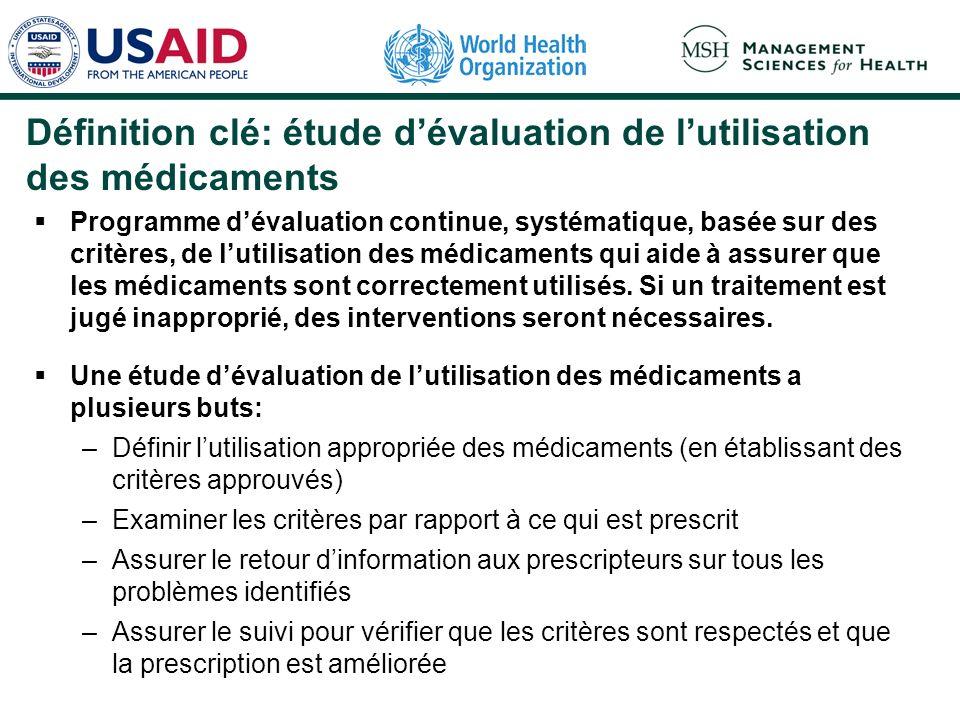 Définition clé: étude dévaluation de lutilisation des médicaments Programme dévaluation continue, systématique, basée sur des critères, de lutilisatio