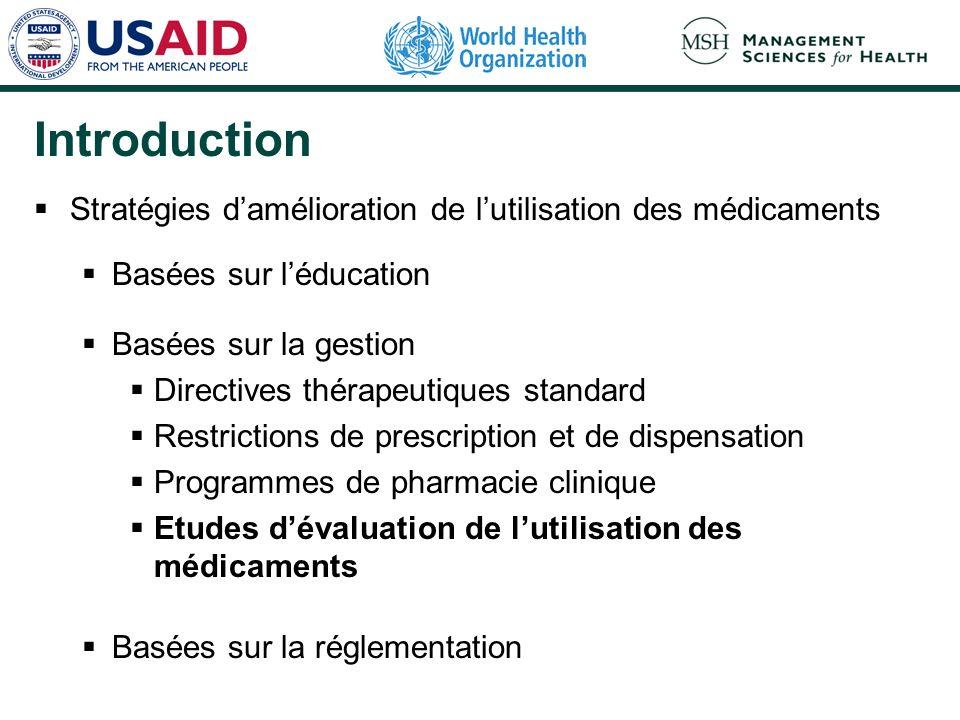 Introduction Stratégies damélioration de lutilisation des médicaments Basées sur léducation Basées sur la gestion Directives thérapeutiques standard R