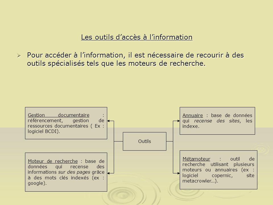 Les outils daccès à linformation Pour accéder à linformation, il est nécessaire de recourir à des outils spécialisés tels que les moteurs de recherche