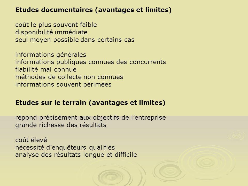 Etudes documentaires (avantages et limites) coût le plus souvent faible disponibilité immédiate seul moyen possible dans certains cas informations gén