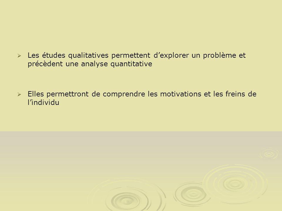 Les études qualitatives permettent dexplorer un problème et précèdent une analyse quantitative Elles permettront de comprendre les motivations et les