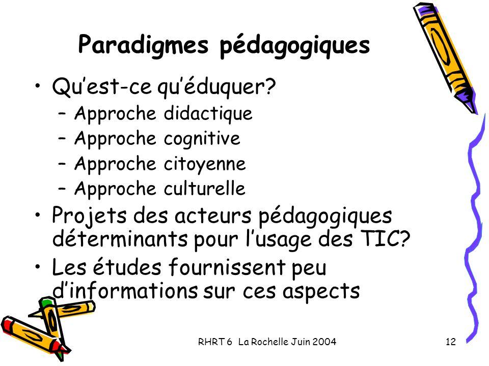 RHRT 6 La Rochelle Juin 200412 Paradigmes pédagogiques Quest-ce quéduquer? –Approche didactique –Approche cognitive –Approche citoyenne –Approche cult