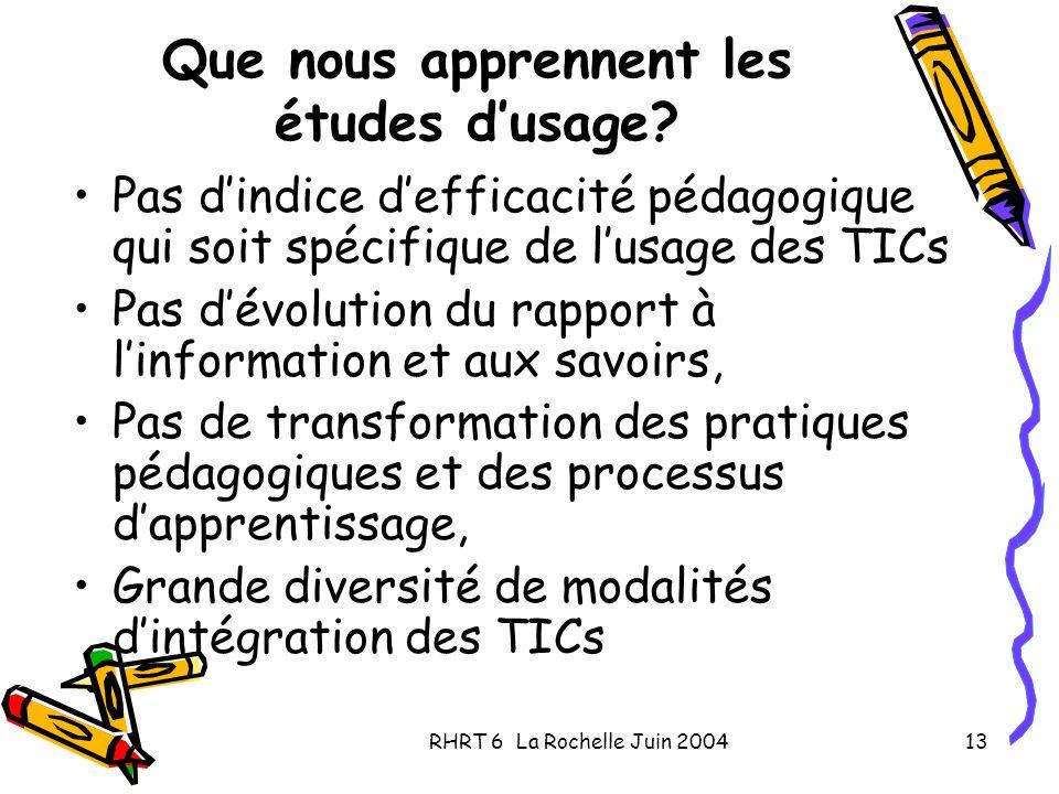RHRT 6 La Rochelle Juin 200413 Que nous apprennent les études dusage? Pas dindice defficacité pédagogique qui soit spécifique de lusage des TICs Pas d