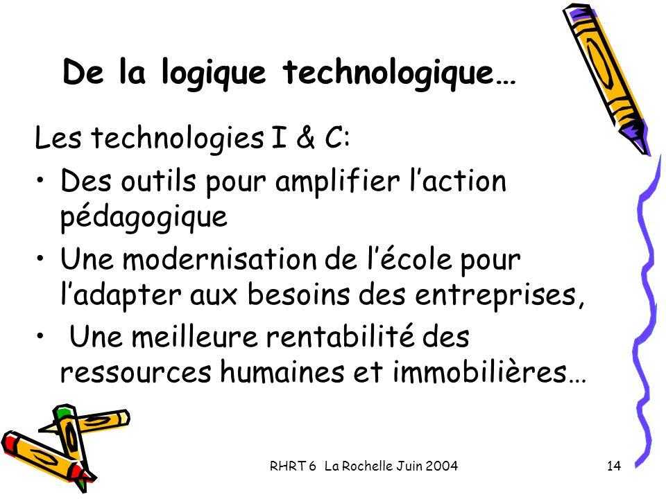 RHRT 6 La Rochelle Juin 200414 De la logique technologique… Les technologies I & C: Des outils pour amplifier laction pédagogique Une modernisation de lécole pour ladapter aux besoins des entreprises, Une meilleure rentabilité des ressources humaines et immobilières…