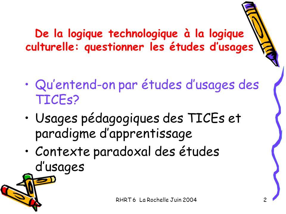 RHRT 6 La Rochelle Juin 20042 De la logique technologique à la logique culturelle: questionner les études dusages Quentend-on par études dusages des T