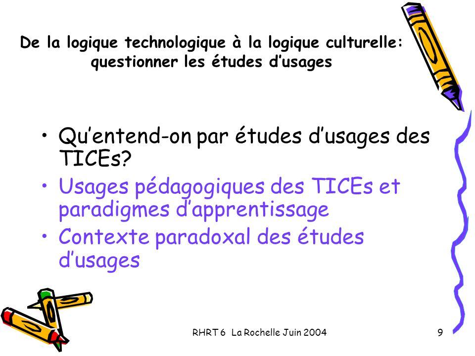 RHRT 6 La Rochelle Juin 20049 De la logique technologique à la logique culturelle: questionner les études dusages Quentend-on par études dusages des TICEs.