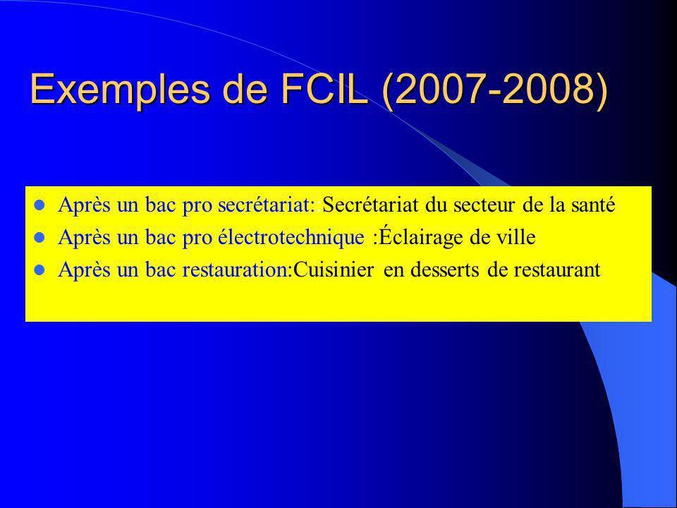 ATTENTION Les FCIL sont mises en place dans chaque académie en fonction des besoins économiques locaux ou régionaux. Elles ne mènent pas à des diplôme