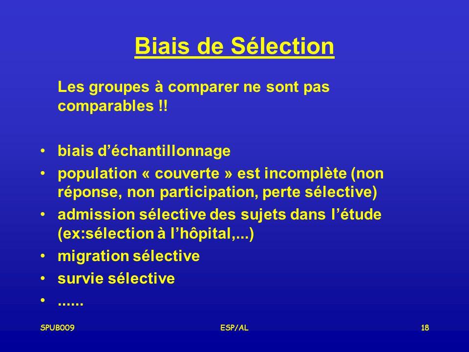 SPUB009ESP/AL18 Biais de Sélection Les groupes à comparer ne sont pas comparables !.