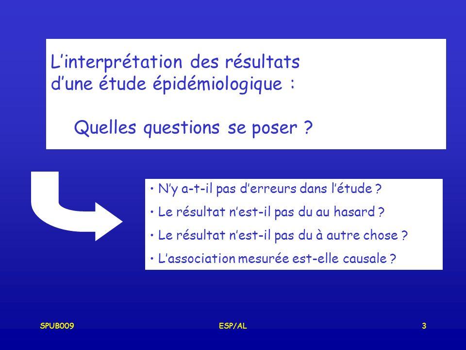 SPUB009ESP/AL14 Erreurs aléatoires Variabilité inter et intra individus erreurs aléatoires toujours présentes SI ….N