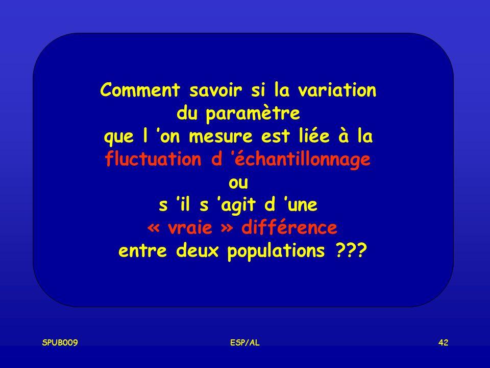 SPUB009ESP/AL42 Comment savoir si la variation du paramètre que l on mesure est liée à la fluctuation d échantillonnage ou s il s agit d une « vraie » différence entre deux populations ???