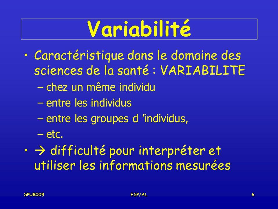 SPUB009ESP/AL6 Variabilité Caractéristique dans le domaine des sciences de la santé : VARIABILITE –chez un même individu –entre les individus –entre les groupes d individus, –etc.