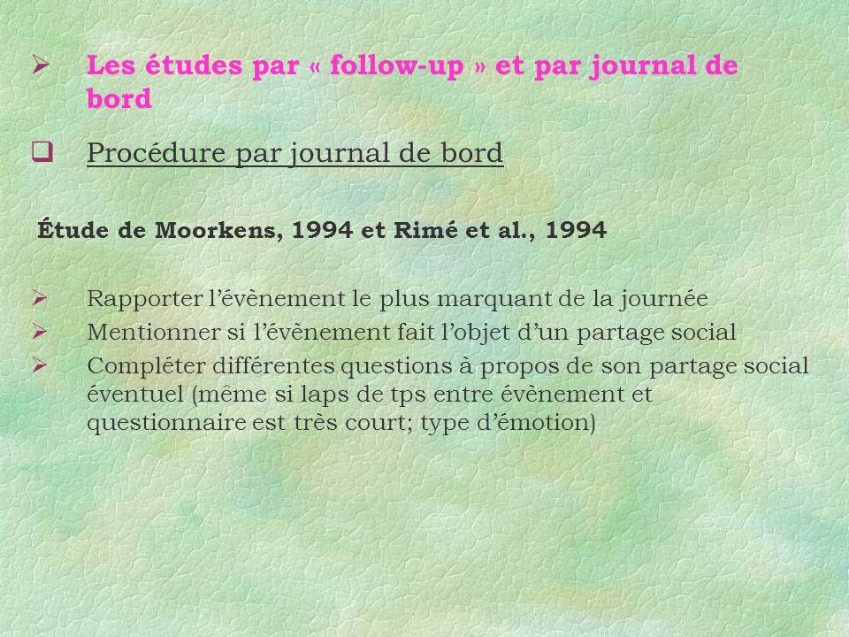 Les études par « follow-up » et par journal de bord Procédure par journal de bord Étude de Moorkens, 1994 et Rimé et al., 1994 Rapporter lévènement le