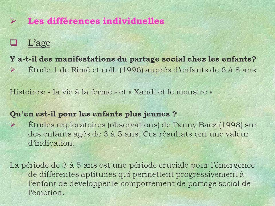 Les différences individuelles Lâge Y a-t-il des manifestations du partage social chez les enfants? Étude 1 de Rimé et coll. (1996) auprès denfants de