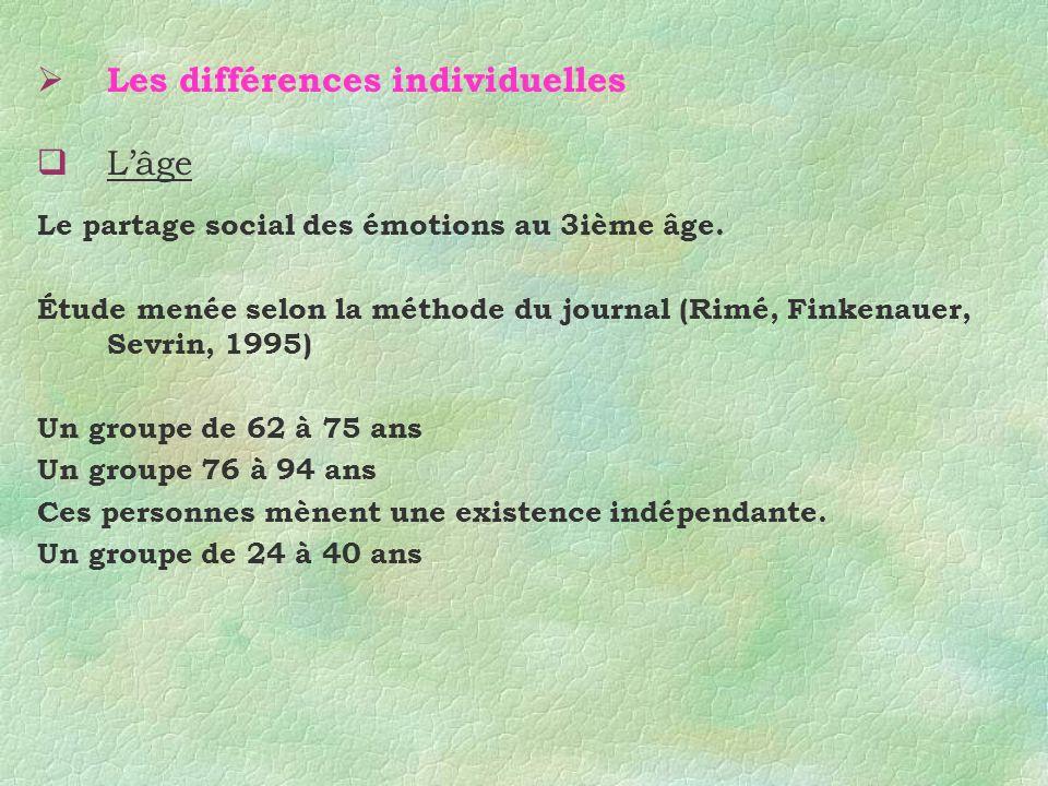 Les différences individuelles Lâge Le partage social des émotions au 3ième âge. Étude menée selon la méthode du journal (Rimé, Finkenauer, Sevrin, 199
