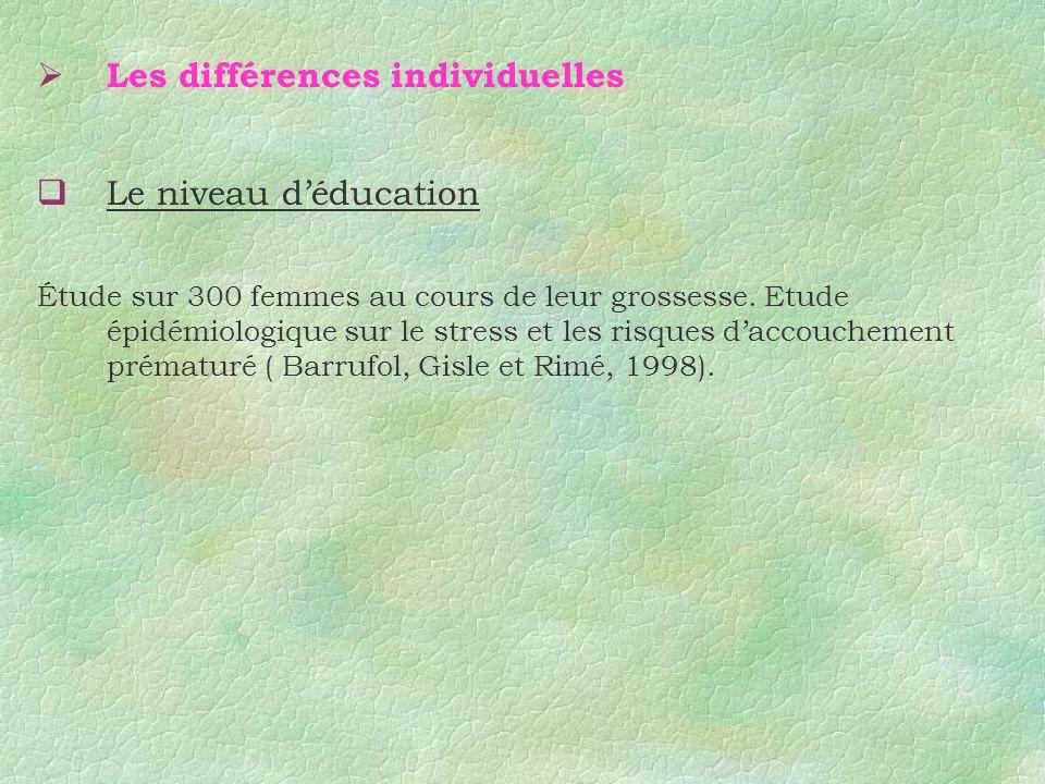 Les différences individuelles Le niveau déducation Étude sur 300 femmes au cours de leur grossesse. Etude épidémiologique sur le stress et les risques
