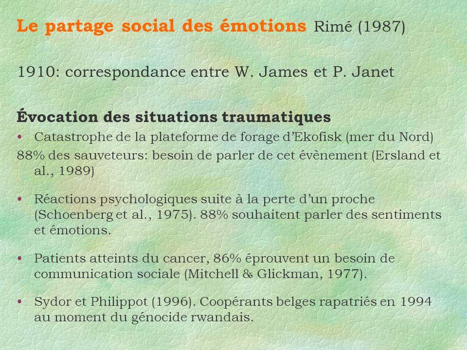 Le partage social des émotions Rimé (1987) 1910: correspondance entre W. James et P. Janet Évocation des situations traumatiques Catastrophe de la pla
