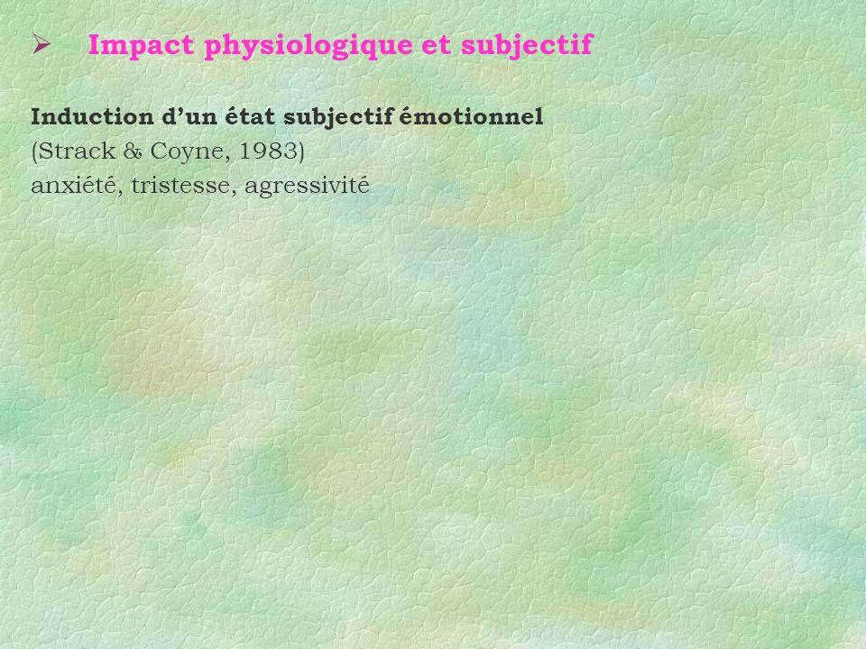 Impact physiologique et subjectif Induction dun état subjectif émotionnel (Strack & Coyne, 1983) anxiété, tristesse, agressivité