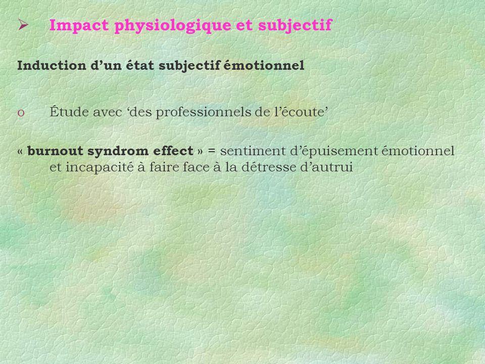 Impact physiologique et subjectif Induction dun état subjectif émotionnel oÉtude avec des professionnels de lécoute « burnout syndrom effect » = senti